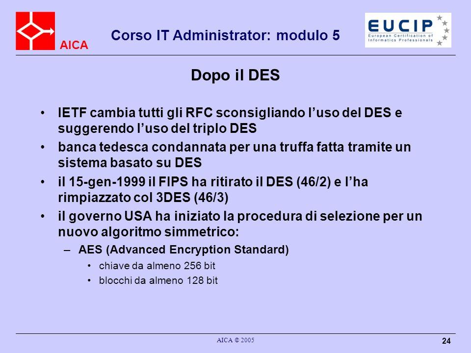 AICA Corso IT Administrator: modulo 5 AICA © 2005 24 Dopo il DES IETF cambia tutti gli RFC sconsigliando luso del DES e suggerendo luso del triplo DES