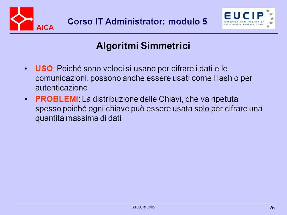 AICA Corso IT Administrator: modulo 5 AICA © 2005 25 Algoritmi Simmetrici USO: Poiché sono veloci si usano per cifrare i dati e le comunicazioni, poss