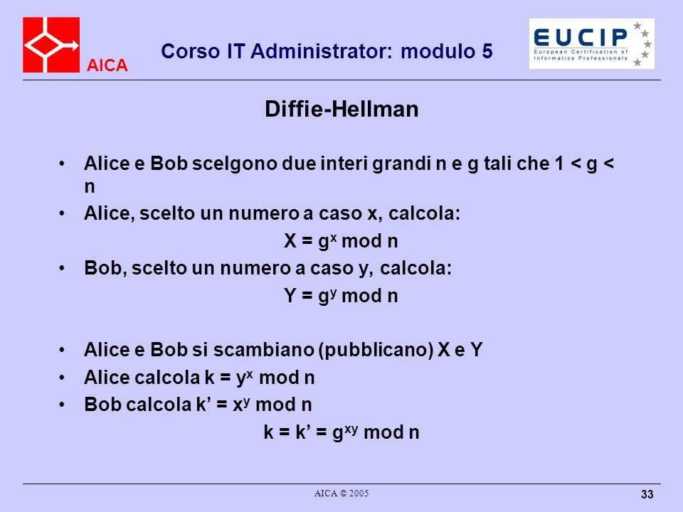 AICA Corso IT Administrator: modulo 5 AICA © 2005 33 Diffie-Hellman Alice e Bob scelgono due interi grandi n e g tali che 1 < g < n Alice, scelto un n