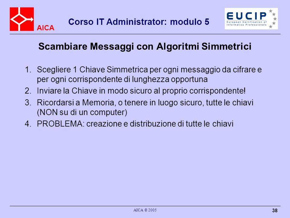 AICA Corso IT Administrator: modulo 5 AICA © 2005 38 Scambiare Messaggi con Algoritmi Simmetrici 1.Scegliere 1 Chiave Simmetrica per ogni messaggio da cifrare e per ogni corrispondente di lunghezza opportuna 2.Inviare la Chiave in modo sicuro al proprio corrispondente.