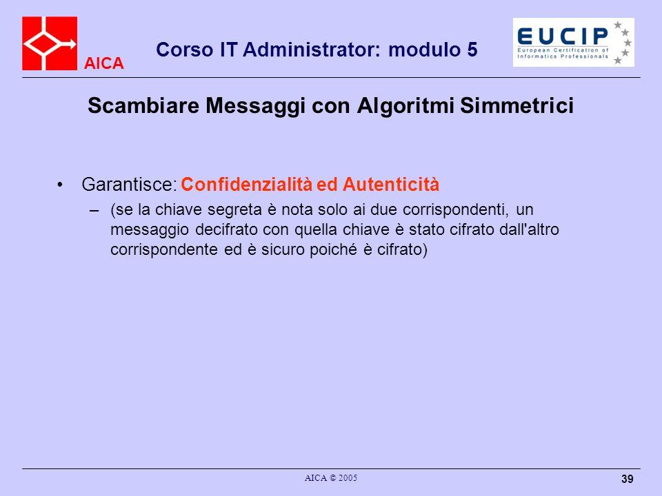 AICA Corso IT Administrator: modulo 5 AICA © 2005 39 Scambiare Messaggi con Algoritmi Simmetrici Garantisce: Confidenzialità ed Autenticità –(se la ch
