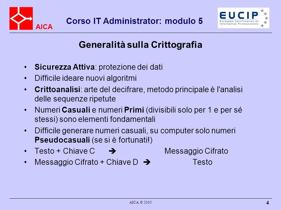 AICA Corso IT Administrator: modulo 5 AICA © 2005 4 Generalità sulla Crittografia Sicurezza Attiva: protezione dei dati Difficile ideare nuovi algorit