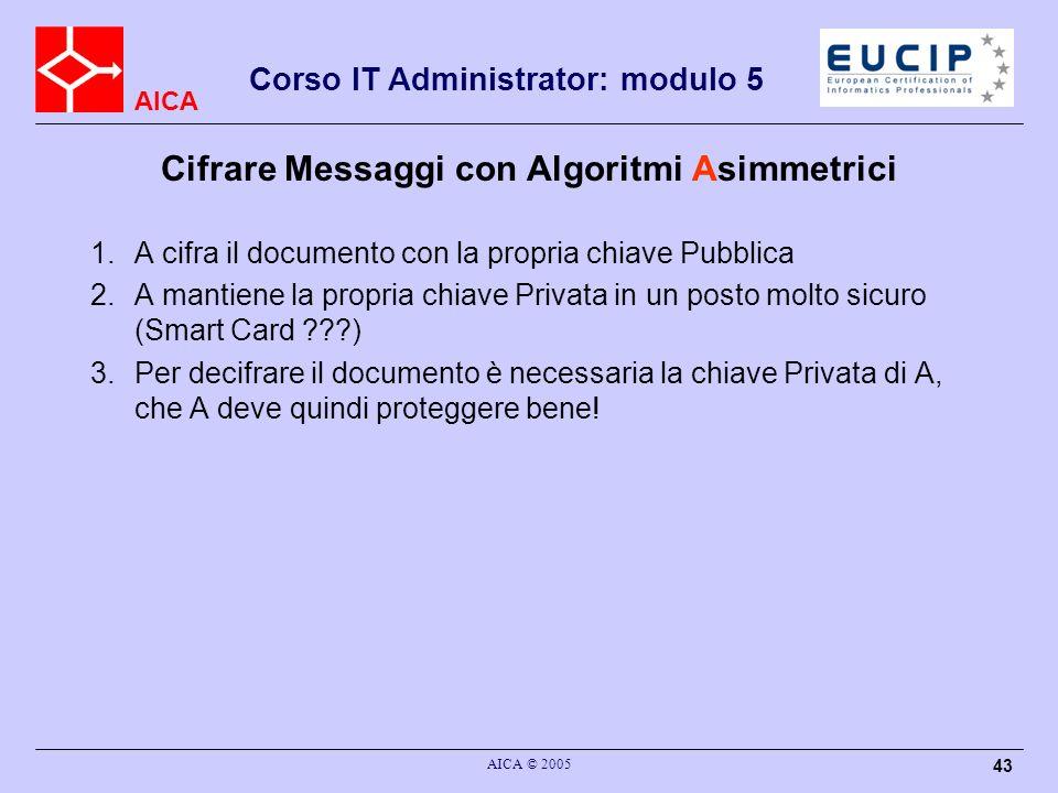 AICA Corso IT Administrator: modulo 5 AICA © 2005 43 Cifrare Messaggi con Algoritmi Asimmetrici 1.A cifra il documento con la propria chiave Pubblica