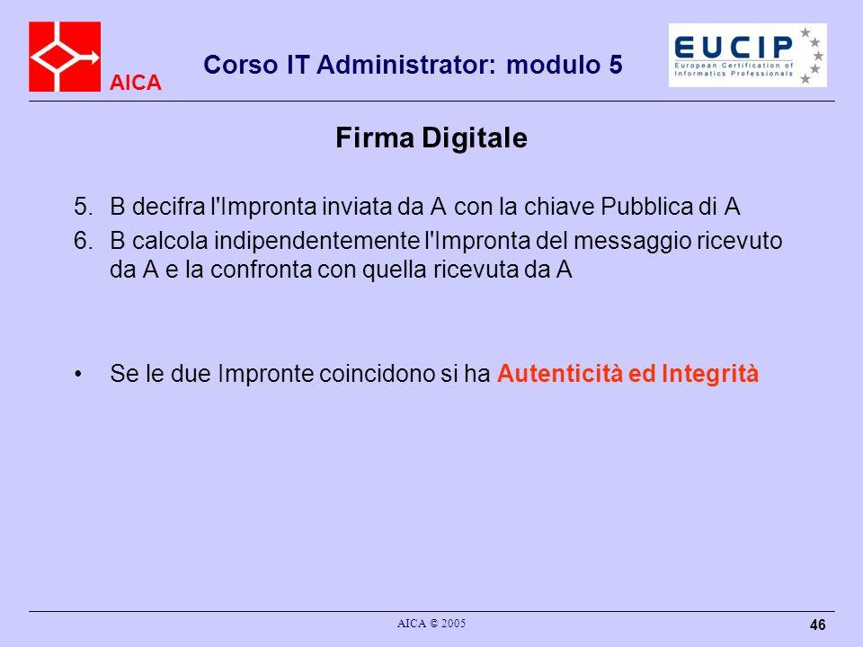 AICA Corso IT Administrator: modulo 5 AICA © 2005 46 Firma Digitale 5.B decifra l'Impronta inviata da A con la chiave Pubblica di A 6.B calcola indipe