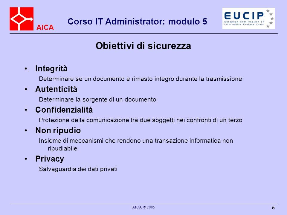 AICA Corso IT Administrator: modulo 5 AICA © 2005 36 MAC Message Authentication Code (MAC): in generale è un codice che permette di stabilire l autenticità di un documento H-MAC: MAC basati sull uso di un HASH insieme ad una chiave segreta (RFC2104) Caso più semplice: concatenare una chiave segreta al documento e poi calcolarne la Impronta, solo chi conosce la chiave segreta può verificarla e solo chi ha la chiave segreta può averla fatta