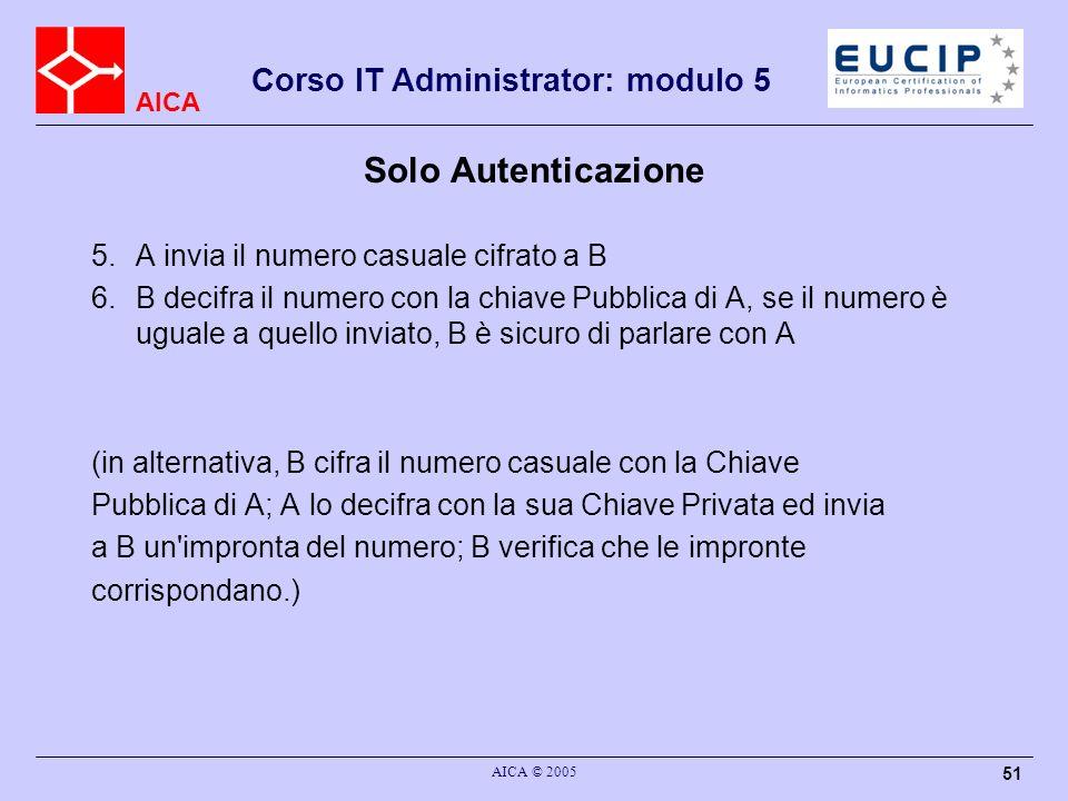 AICA Corso IT Administrator: modulo 5 AICA © 2005 51 Solo Autenticazione 5.A invia il numero casuale cifrato a B 6.B decifra il numero con la chiave P