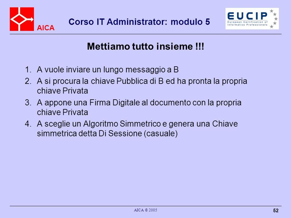 AICA Corso IT Administrator: modulo 5 AICA © 2005 52 Mettiamo tutto insieme !!! 1.A vuole inviare un lungo messaggio a B 2.A si procura la chiave Pubb