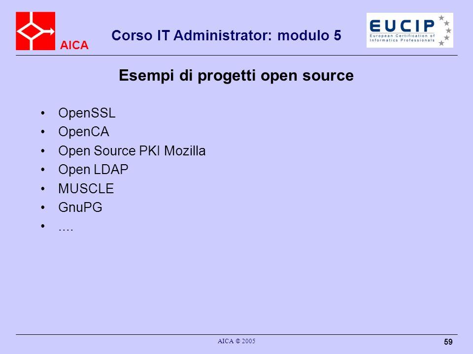 AICA Corso IT Administrator: modulo 5 AICA © 2005 59 Esempi di progetti open source OpenSSL OpenCA Open Source PKI Mozilla Open LDAP MUSCLE GnuPG....