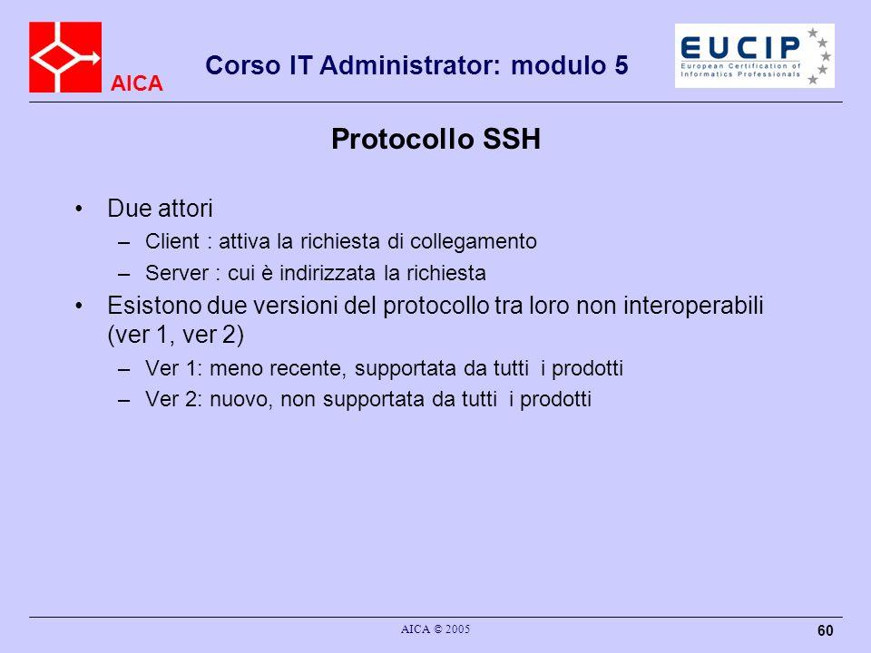 AICA Corso IT Administrator: modulo 5 AICA © 2005 60 Protocollo SSH Due attori –Client : attiva la richiesta di collegamento –Server : cui è indirizzata la richiesta Esistono due versioni del protocollo tra loro non interoperabili (ver 1, ver 2) –Ver 1: meno recente, supportata da tutti i prodotti –Ver 2: nuovo, non supportata da tutti i prodotti