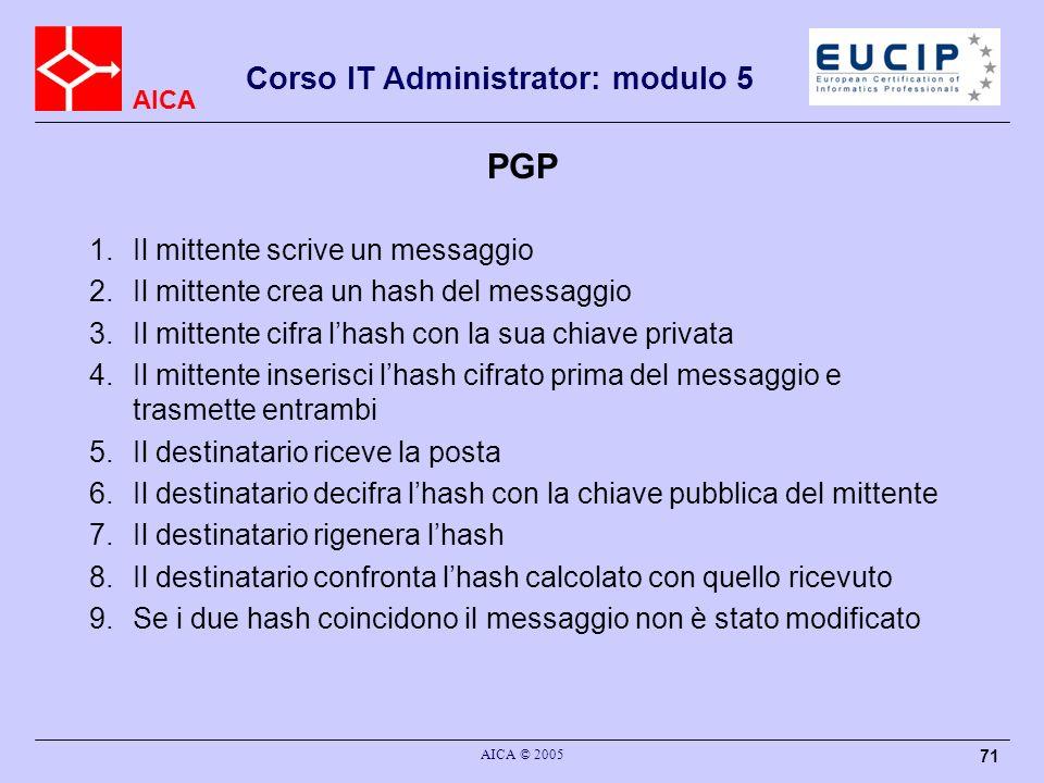 AICA Corso IT Administrator: modulo 5 AICA © 2005 71 PGP 1.Il mittente scrive un messaggio 2.Il mittente crea un hash del messaggio 3.Il mittente cifr