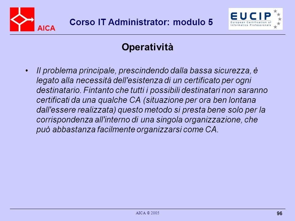 AICA Corso IT Administrator: modulo 5 AICA © 2005 96 Operatività Il problema principale, prescindendo dalla bassa sicurezza, è legato alla necessità d