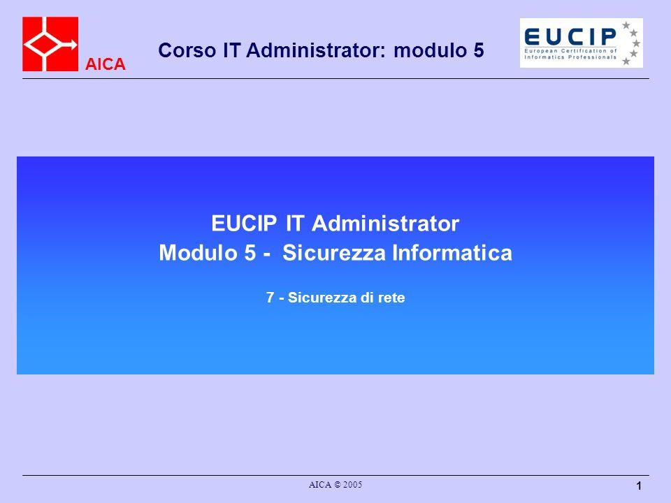AICA Corso IT Administrator: modulo 5 AICA © 2005 12 Tipi di Firewall Packet Filter: che si limita a valutare gli header di ciascun pacchetto Stateful Inspection: 1 + tiene traccia di alcune relazioni tra i pacchetti che lo attraversano, ad esempio ricostruisce lo stato delle connessioni TCP, e analizza i protocolli che aprono più connessioni.Questo permette ad esempio di riconoscere pacchetti TCP malevoli che non fanno parte di alcuna connessione, o di permettere il funzionamento di protocolli complessi Content Inspection: 2 + effettua controlli fino al livello 7 della pila ISO/OSI, ovvero valutano anche il contenuto applicativo dei pacchetti, ad esempio riconoscendo e bloccando i dati appartenenti a virus o worm noti in una sessione HTTP o SMTPSMTPSMTP Proxy o Application Level Gateway (ALG): la configurazione della rete privata non consente connessioni dirette verso l esterno, ma il proxy è connesso sia alla rete privata che alla rete pubblica, e permette alcune connessioni in modo selettivo, e solo per i protocolli che supporta.
