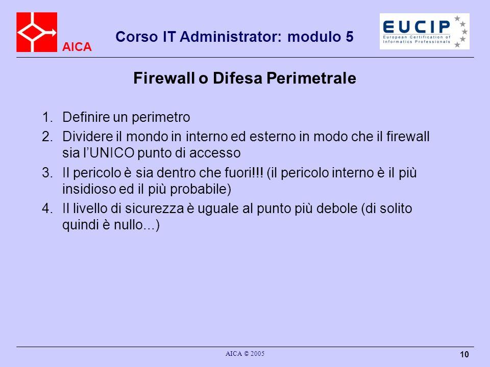 AICA Corso IT Administrator: modulo 5 AICA © 2005 10 Firewall o Difesa Perimetrale 1.Definire un perimetro 2.Dividere il mondo in interno ed esterno i