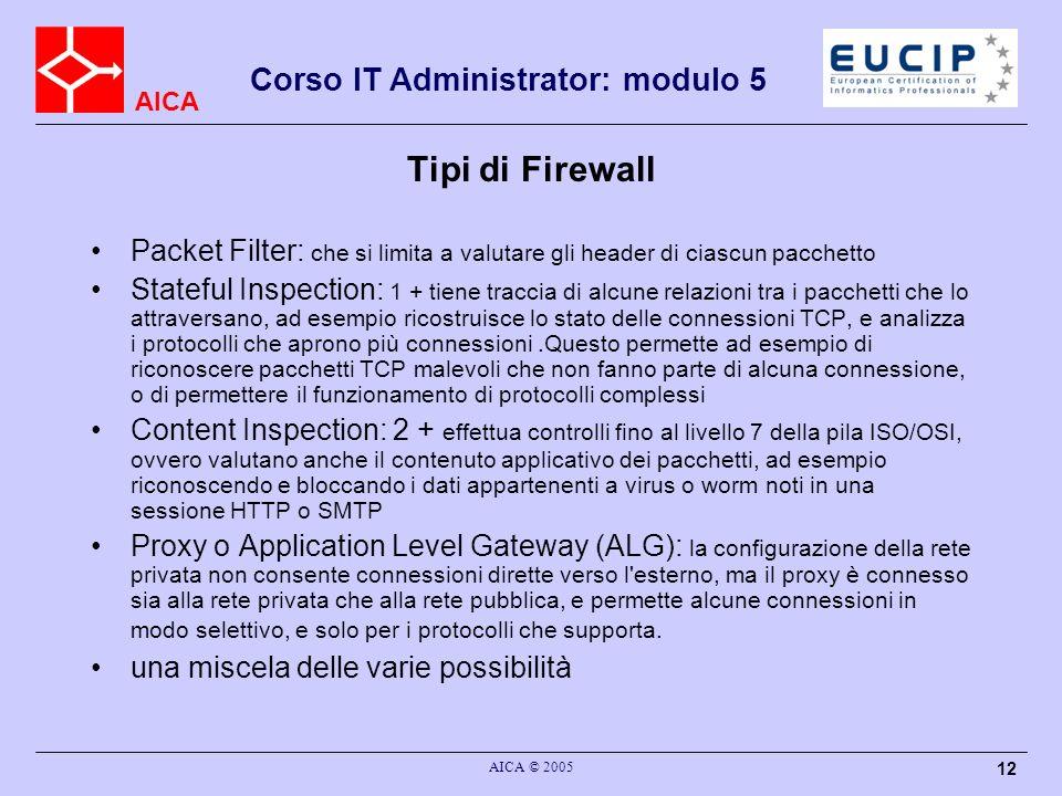 AICA Corso IT Administrator: modulo 5 AICA © 2005 12 Tipi di Firewall Packet Filter: che si limita a valutare gli header di ciascun pacchetto Stateful