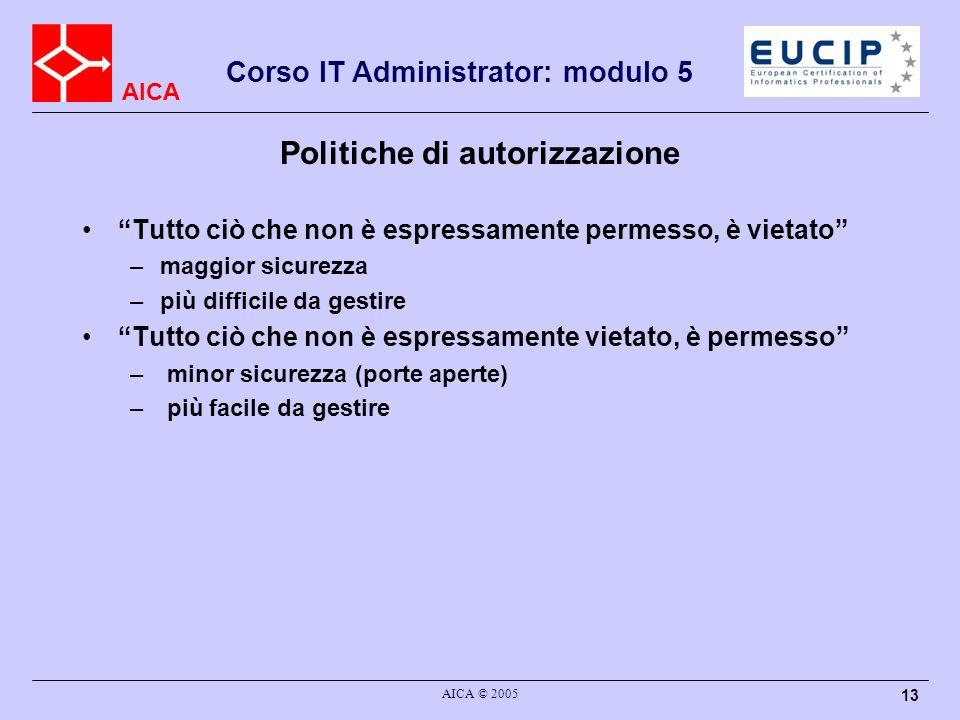 AICA Corso IT Administrator: modulo 5 AICA © 2005 13 Politiche di autorizzazione Tutto ciò che non è espressamente permesso, è vietato –maggior sicure