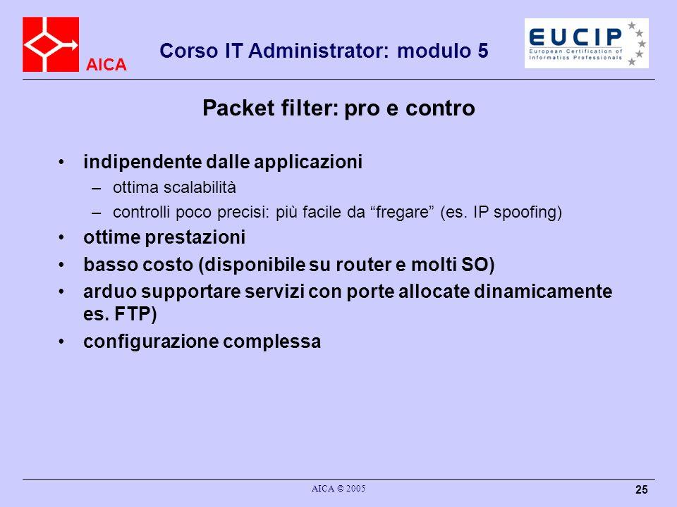 AICA Corso IT Administrator: modulo 5 AICA © 2005 25 Packet filter: pro e contro indipendente dalle applicazioni –ottima scalabilità –controlli poco p