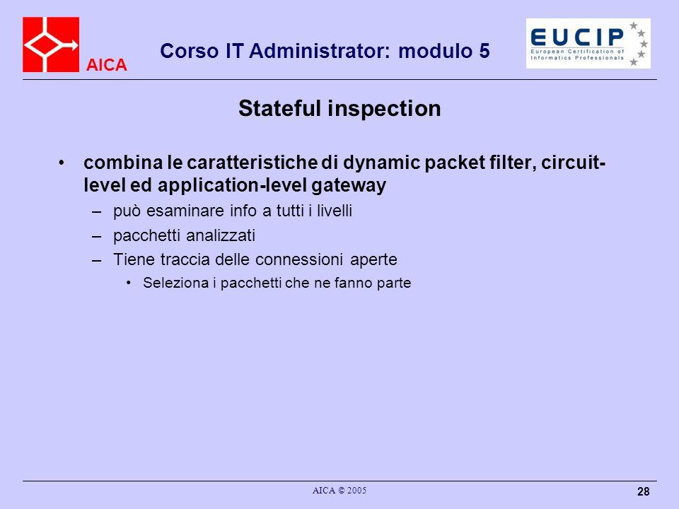 AICA Corso IT Administrator: modulo 5 AICA © 2005 28 Stateful inspection combina le caratteristiche di dynamic packet filter, circuit- level ed applic
