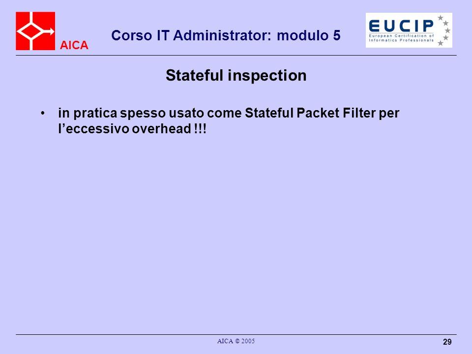 AICA Corso IT Administrator: modulo 5 AICA © 2005 29 Stateful inspection in pratica spesso usato come Stateful Packet Filter per leccessivo overhead !