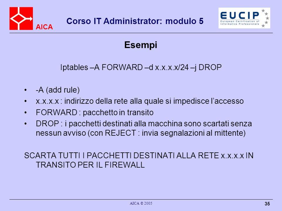 AICA Corso IT Administrator: modulo 5 AICA © 2005 35 Esempi Iptables –A FORWARD –d x.x.x.x/24 –j DROP -A (add rule) x.x.x.x : indirizzo della rete all