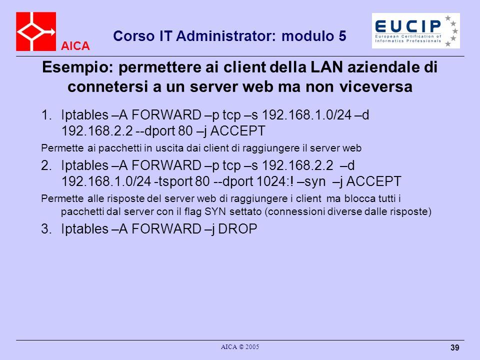 AICA Corso IT Administrator: modulo 5 AICA © 2005 39 Esempio: permettere ai client della LAN aziendale di connetersi a un server web ma non viceversa