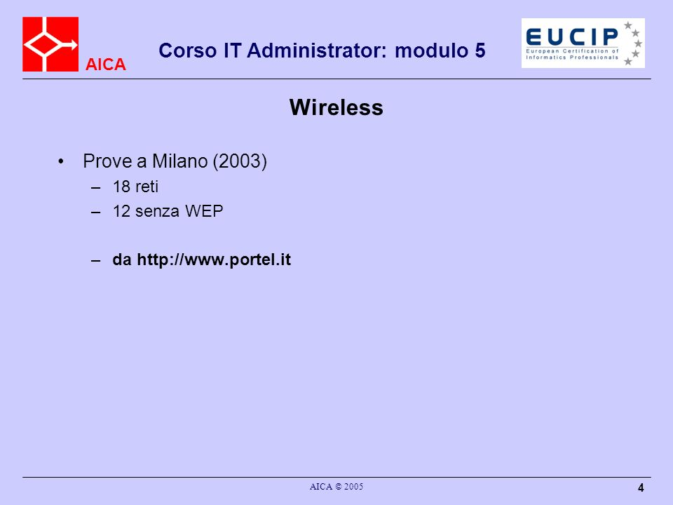 AICA Corso IT Administrator: modulo 5 AICA © 2005 5 Wireless Molti AP hanno una configurazione di default che facillita le operazioni di configurazione È importante conoscere le operazioni di setup per incrementare la sicurezza ed evitare problemi –unwanted Guests SSID : wireless network name –di solito è abilitato il broadcast SSID in modo che i clients possano effettuare uno scan delle reti wireless disponibili