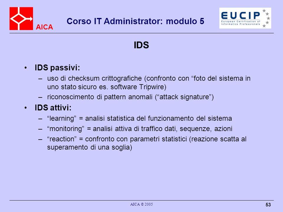 AICA Corso IT Administrator: modulo 5 AICA © 2005 53 IDS IDS passivi: –uso di checksum crittografiche (confronto con foto del sistema in uno stato sic