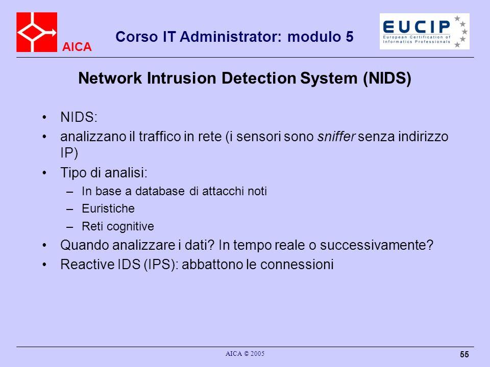 AICA Corso IT Administrator: modulo 5 AICA © 2005 55 Network Intrusion Detection System (NIDS) NIDS: analizzano il traffico in rete (i sensori sono sn