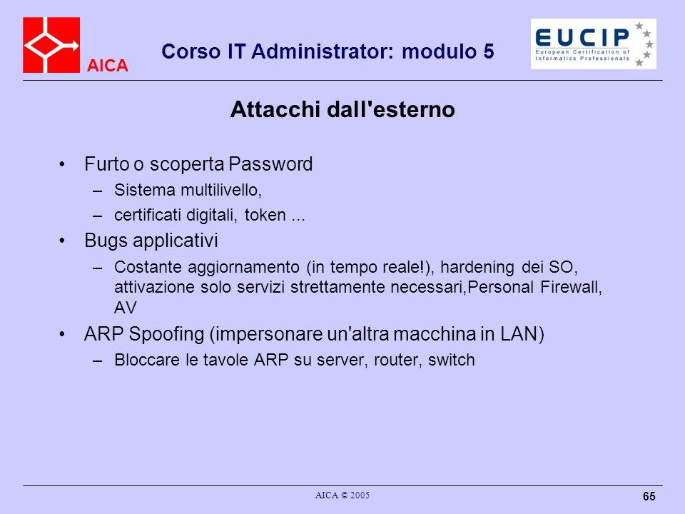 AICA Corso IT Administrator: modulo 5 AICA © 2005 65 Attacchi dall'esterno Furto o scoperta Password –Sistema multilivello, –certificati digitali, tok