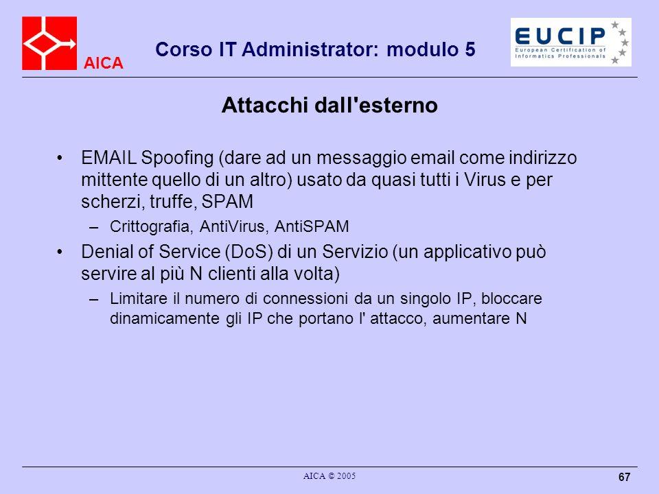AICA Corso IT Administrator: modulo 5 AICA © 2005 67 Attacchi dall'esterno EMAIL Spoofing (dare ad un messaggio email come indirizzo mittente quello d