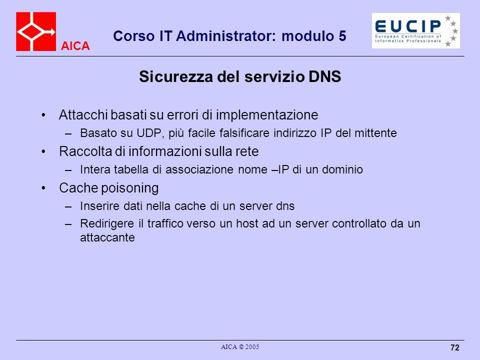 AICA Corso IT Administrator: modulo 5 AICA © 2005 72 Sicurezza del servizio DNS Attacchi basati su errori di implementazione –Basato su UDP, più facil