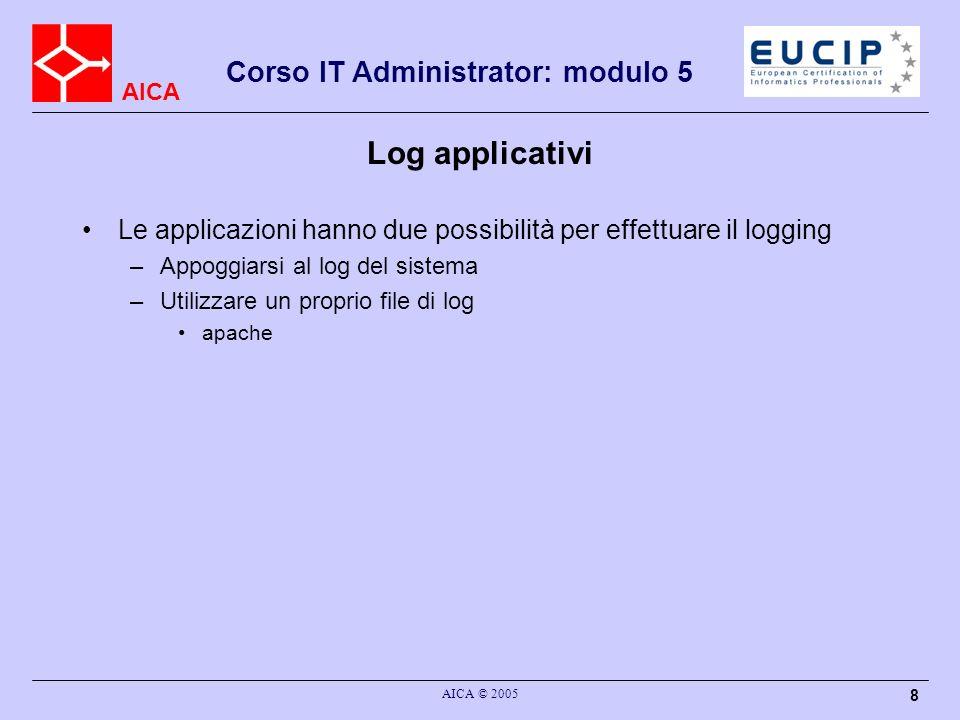 AICA Corso IT Administrator: modulo 5 AICA © 2005 9 Logserver centralizzato Invio dei log singoli su un server –Log maggiormente protetti –Riconoscere correlazioni tra eventi diversi Problemi –Formati differenti tra diversi sistemi operativi