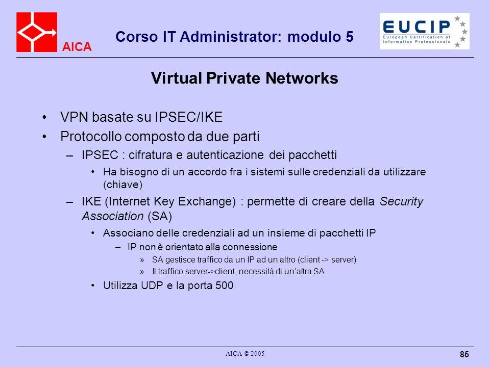 AICA Corso IT Administrator: modulo 5 AICA © 2005 85 Virtual Private Networks VPN basate su IPSEC/IKE Protocollo composto da due parti –IPSEC : cifrat