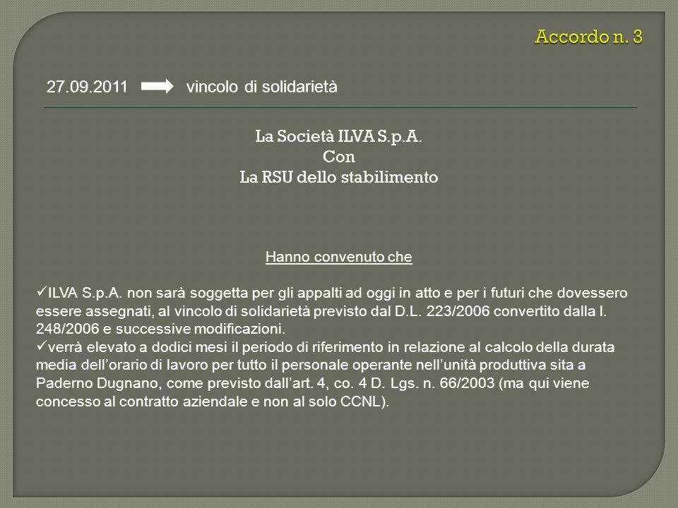La Società ILVA S.p.A. Con La RSU dello stabilimento 27.09.2011 vincolo di solidarietà Hanno convenuto che ILVA S.p.A. non sarà soggetta per gli appal