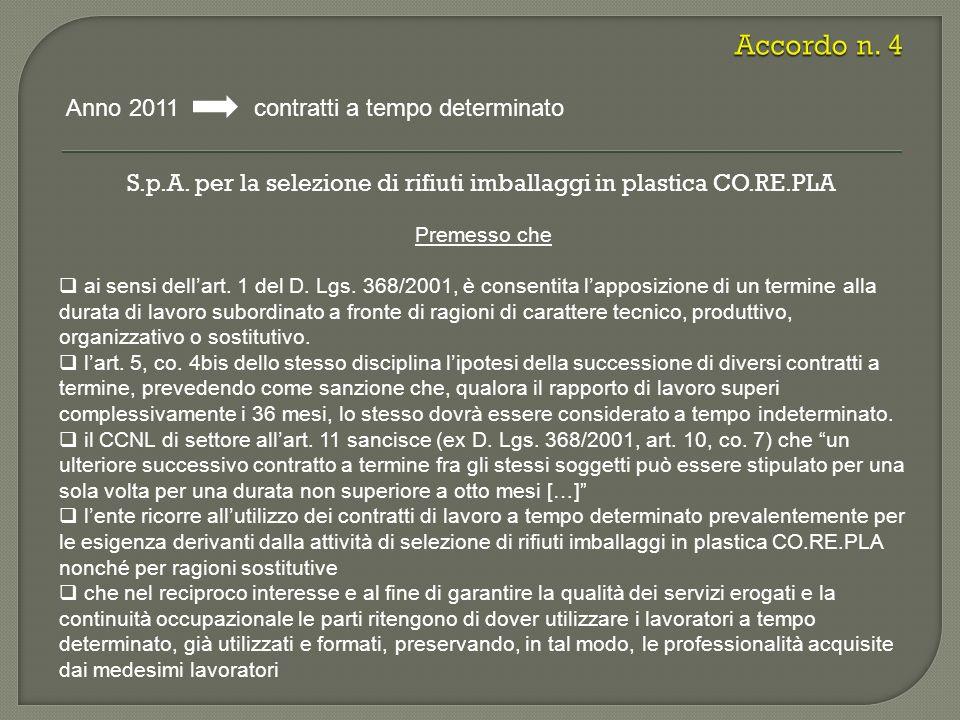S.p.A. per la selezione di rifiuti imballaggi in plastica CO.RE.PLA Anno 2011 contratti a tempo determinato Premesso che ai sensi dellart. 1 del D. Lg