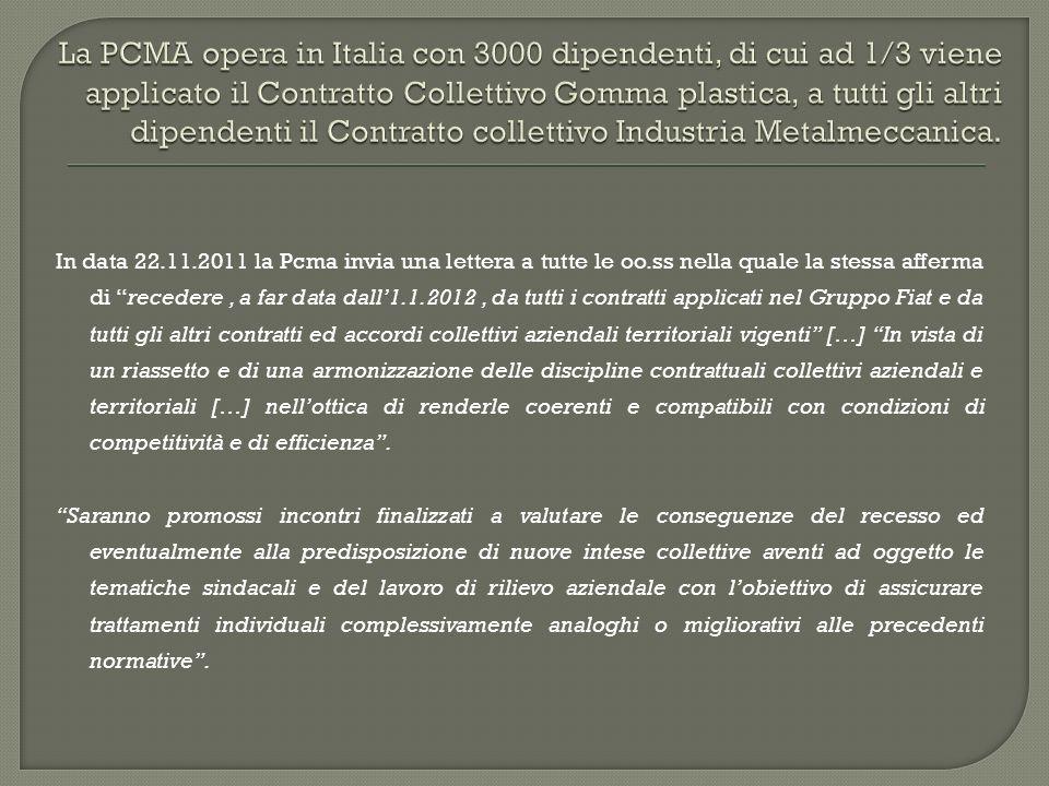 In data 22.11.2011 la Pcma invia una lettera a tutte le oo.ss nella quale la stessa afferma di recedere, a far data dall1.1.2012, da tutti i contratti