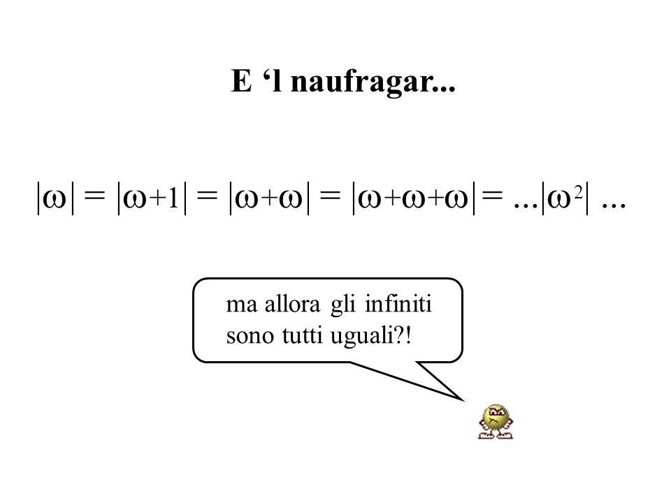 ma allora gli infiniti sono tutti uguali?! | | = | +1 |= | + |= | + + |=...| 2 |... E l naufragar...