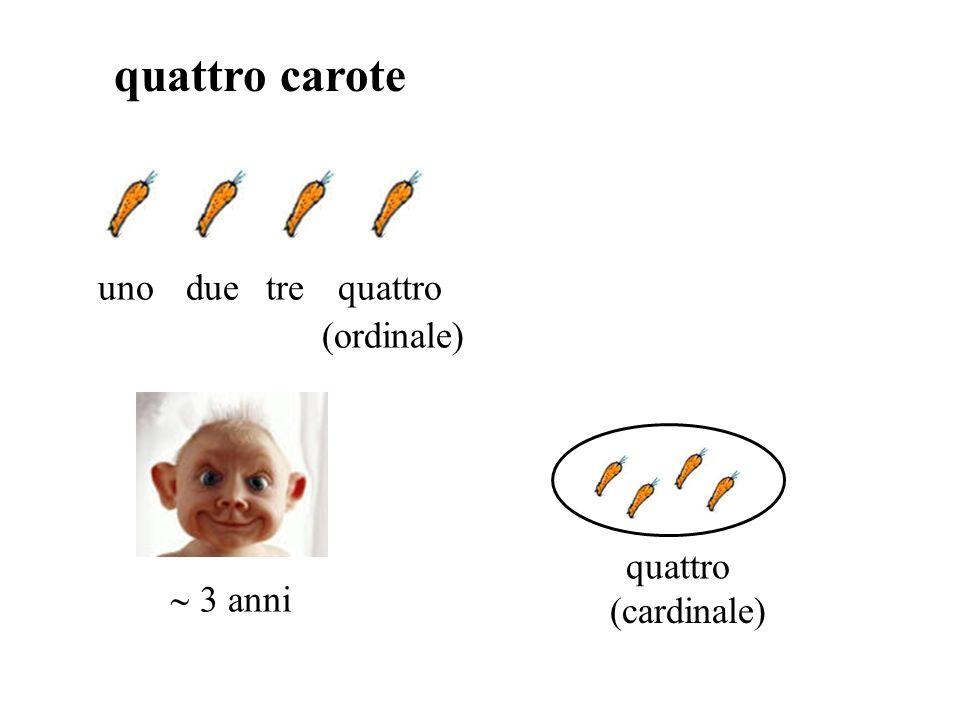 quattro carote unoduetrequattro (ordinale) quattro (cardinale) 3 anni