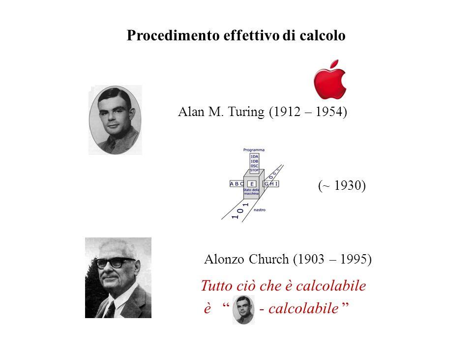Procedimento effettivo di calcolo Alan M. Turing (1912 – 1954) Tutto ciò che è calcolabile - calcolabile è Alonzo Church (1903 – 1995) (~ 1930)