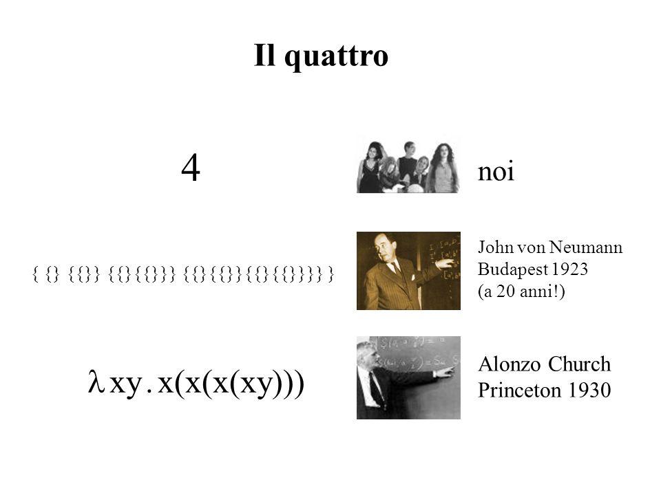 Il quattro 4 noi xy. x(x(x(xy))) Alonzo Church Princeton 1930 { {} {{}} {{}{{}}} {{}{{}}{{}{{}}}} } John von Neumann Budapest 1923 (a 20 anni!)