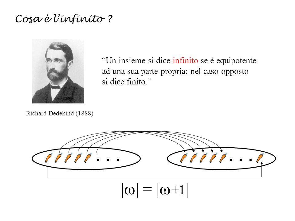 | | = | +1 | Cosa è linfinito ? Richard Dedekind (1888) Un insieme si dice infinito se è equipotente ad una sua parte propria; nel caso opposto si dic