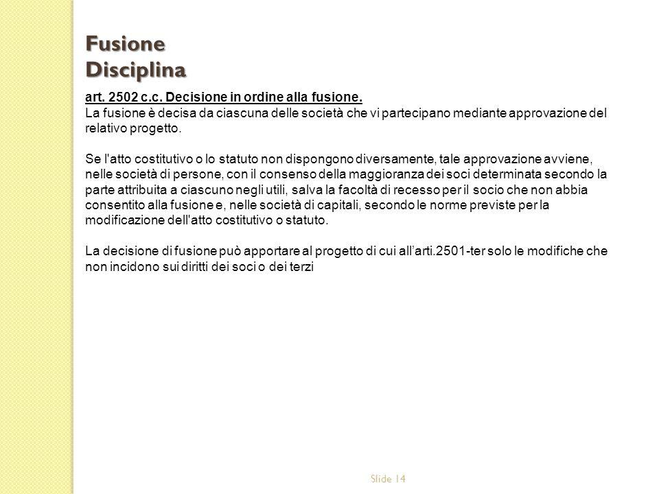 Slide 14 art.2502 c.c. Decisione in ordine alla fusione.