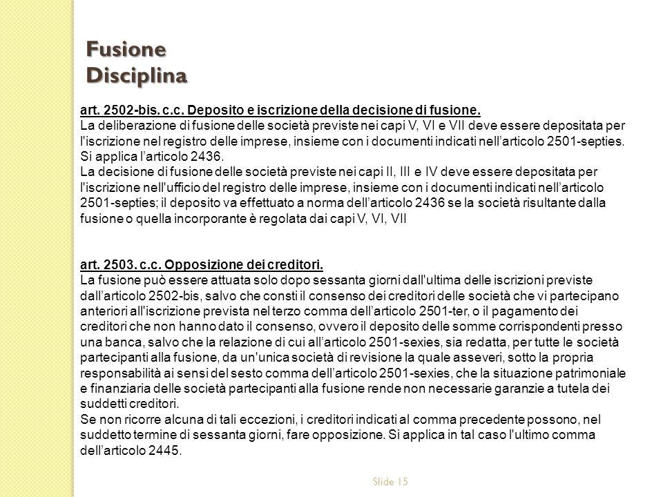Slide 15 art.2502-bis. c.c. Deposito e iscrizione della decisione di fusione.