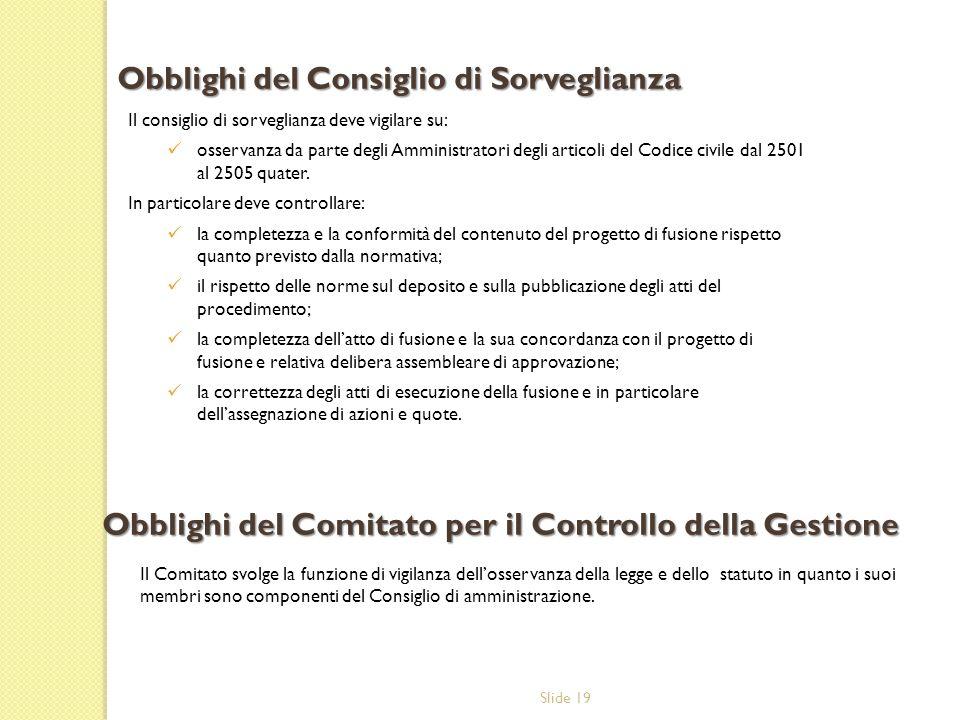 Slide 19 Il consiglio di sorveglianza deve vigilare su: osservanza da parte degli Amministratori degli articoli del Codice civile dal 2501 al 2505 quater.