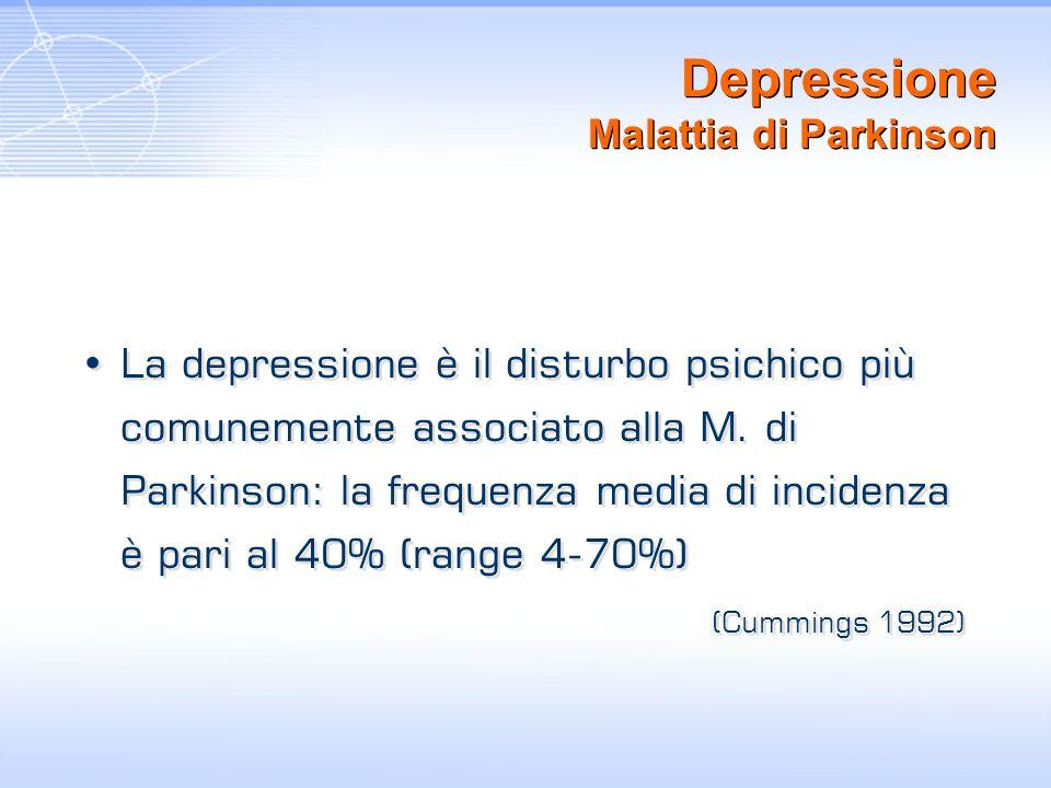 Depressione Malattia di Parkinson La depressione è il disturbo psichico più comunemente associato alla M. di Parkinson: la frequenza media di incidenz