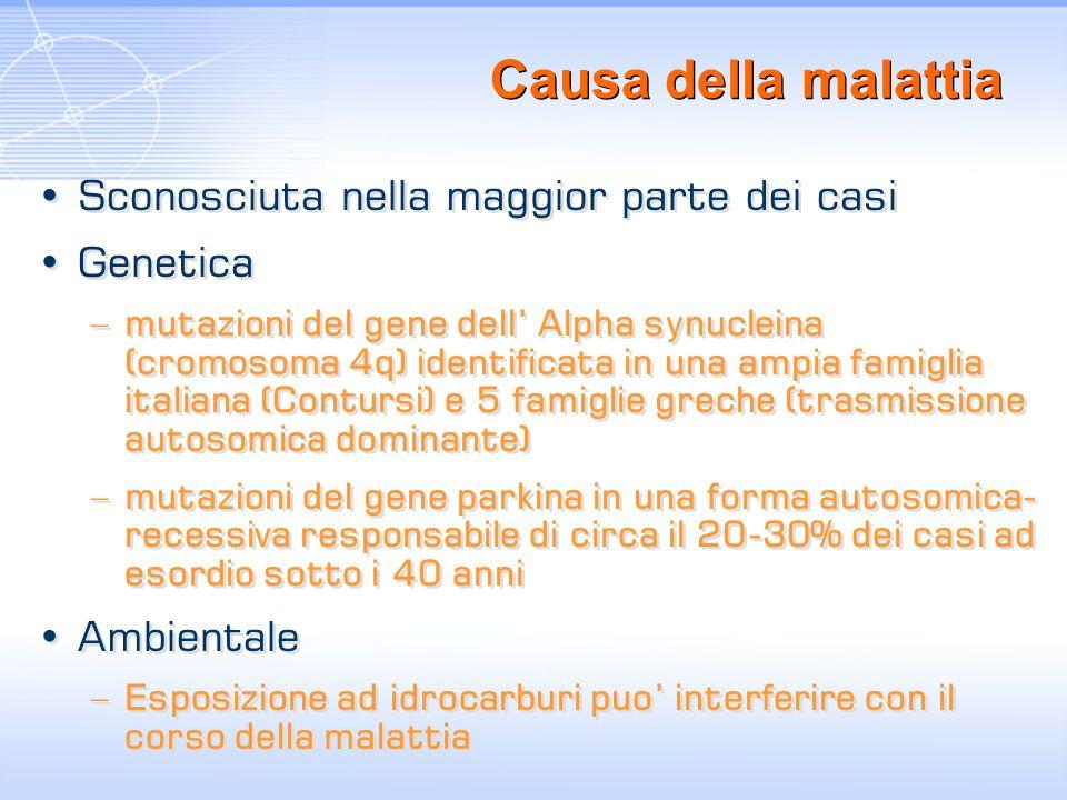 Causa della malattia Sconosciuta nella maggior parte dei casi Genetica –mutazioni del gene dell Alpha synucleina (cromosoma 4q) identificata in una am