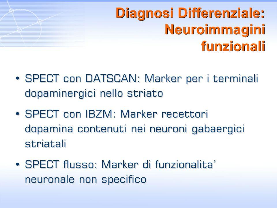 Diagnosi Differenziale: Neuroimmagini funzionali SPECT con DATSCAN: Marker per i terminali dopaminergici nello striato SPECT con IBZM: Marker recettor