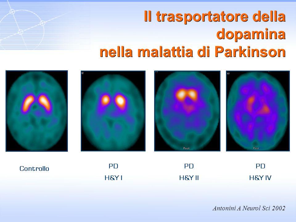 PD H&Y I Controllo PD H&Y II PD H&Y IV Antonini A Neurol Sci 2002 Il trasportatore della dopamina nella malattia di Parkinson