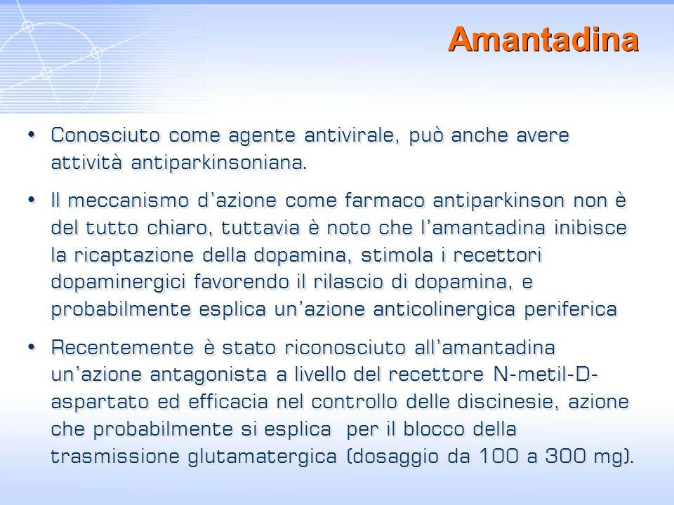 Amantadina Conosciuto come agente antivirale, può anche avere attività antiparkinsoniana. Il meccanismo dazione come farmaco antiparkinson non è del t
