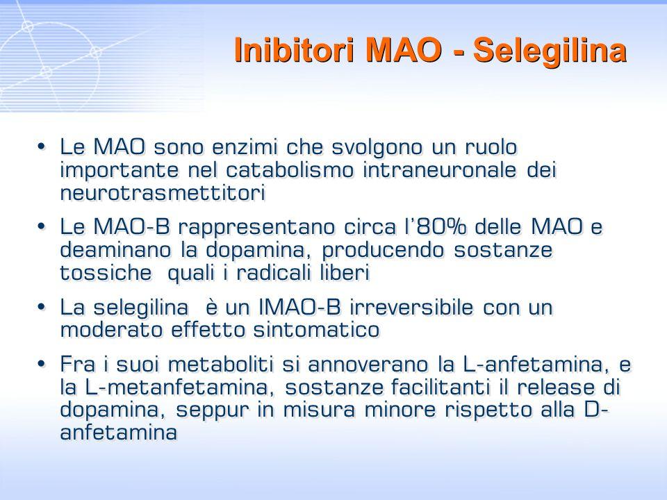 Inibitori MAO - Selegilina Le MAO sono enzimi che svolgono un ruolo importante nel catabolismo intraneuronale dei neurotrasmettitori Le MAO-B rapprese