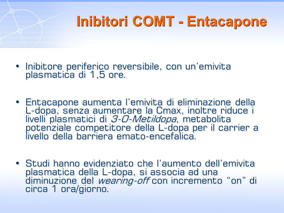 Inibitori COMT - Entacapone Inibitore periferico reversibile, con unemivita plasmatica di 1,5 ore. Entacapone aumenta lemivita di eliminazione della L